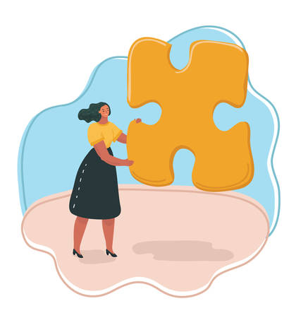 Vector illustration woman hold a giant puzzle. Illustration