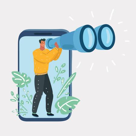Illustrazione del fumetto di vettore dell'uomo concentrato che guarda attraverso il cannocchiale sullo smartphone. Carattere umano su sfondo bianco. Vettoriali