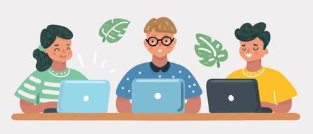 Vektor-Cartoon-Illustration von Kindern, die am Laptop sitzen, Schulfreunde lernen Codierung, Bildungskonzept. Mädchen und Jungen. Menschliche Kinderfiguren auf weißem Hintergrund.