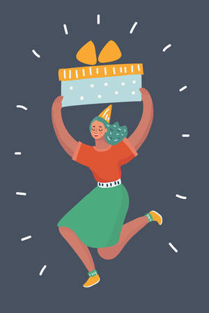 Vector cartoon illustration of Happy smiling cute woman holding big present box on dark background. She is smiling, jumping and celebrate. Human character on dark background.