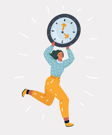 Vector cartoon illustration of worried woman run with holding big round alarm clock. Time is running out. Human charcters on white background. 向量圖像