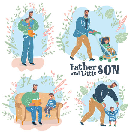 Vector cartoon illustration of Paternity. Father walk with son in stroll, read farytale, help to try walk, first steps toddler, give hug.