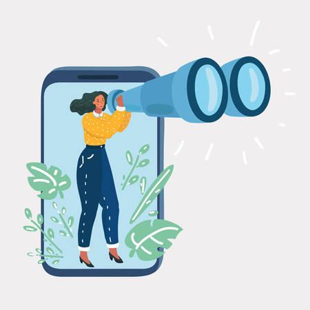 Illustrazione del fumetto di vettore della giovane donna che tiene il binocolo e guarda fuori dal display dello smartphone, raccolta dati, ricerca. Carattere umano e oggetto su sfondo bianco. Vettoriali