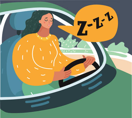 Vector cartoon illustration of sleepy tired fatigued exhausted young woman driving her car in traffic after long hour. Transportation sleep deprivation accident concept.