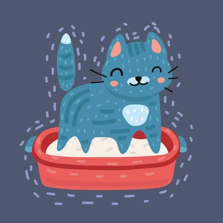 Vector cartoon illustration of cat using cat toilet litter box.
