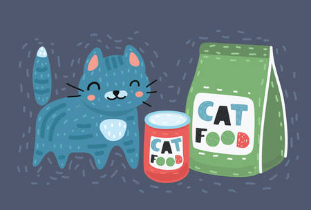 Vector cartoon illustration of cat sitting next to a food packiges, Dry and canned on dark bakcground. Stock Illustratie