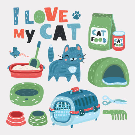 Vector cartoon set of cat pets accessories. Litter, carring box, grooming, boil, Dry and canned food, cute cat on white background.