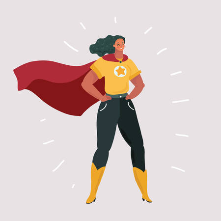 Vector cartoon illustration of Smiling young Caucasian woman in superhero costume standing in hands on his hips pose. Human female character on white background.