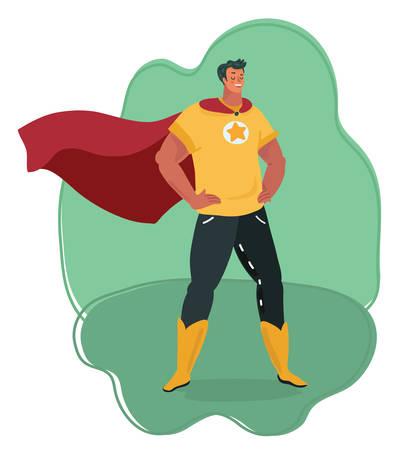 Ilustración de dibujos animados de vector de vista frontal de cuerpo entero de un superhéroe poderoso y musculoso de pie y esperando valiente misión. Héroe familiar.