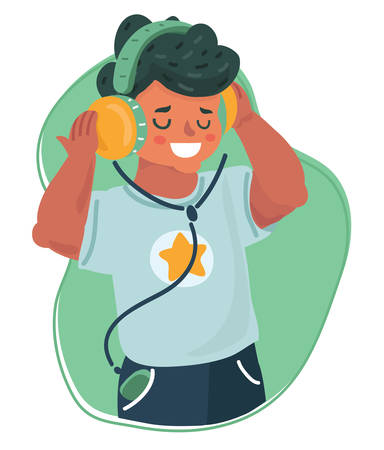 Vector cartoon illustration of boy kid listening music, enjoying song with headphones. Smiling kid using phone. Wireless technology.