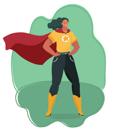 Vector cartoon illustration of Super hero woman watching over city. Hands on his hips pose. Human female character.