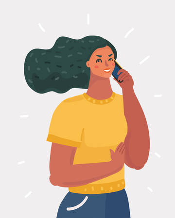 Vector cartoon illustration of Woman talking on the phone. Female human character on white backgorund.