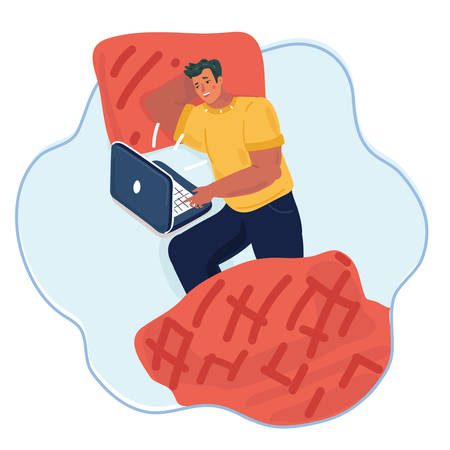 Vector cartoon illustration of man with laptop in the bed. Insomnia and vacation day. 向量圖像