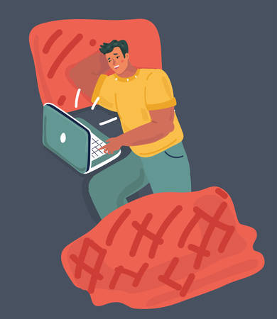Vector cartoon illustration of Man with laptop lay in bed in holiday. Night backgorund.