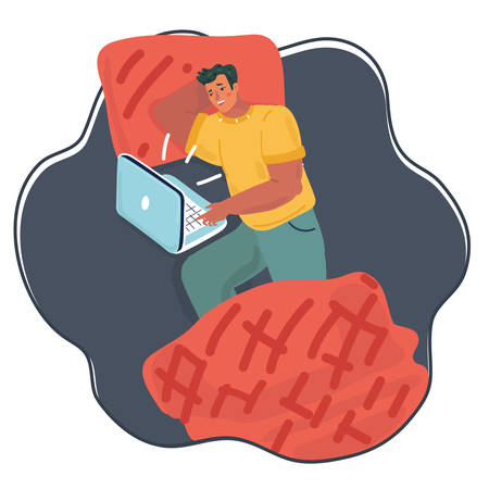 Vector cartoon illustration of Man Using Laptop In The Bed at night. Lazy man relaxing in holidays night.