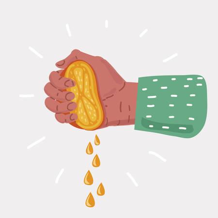Vector cartoon illustration of Human Hand squeezes lemon on white background. Illustration