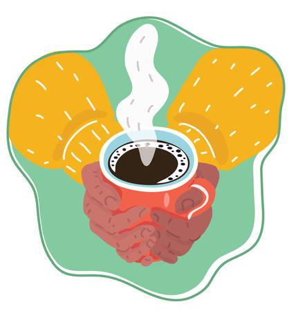Vector cartoon illustration of woman hands holding mug of hot drink.