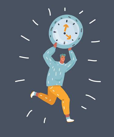 Vector cartoon illustration of tiny man carry big clock above him on dark backbround.