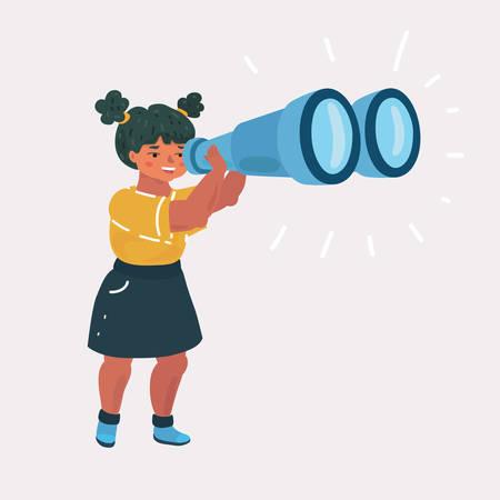 Vector cartoon illsatration de Girl Explorer avec des jumelles sur fond de Pentecôte. Concept d'exploration et d'éducation.