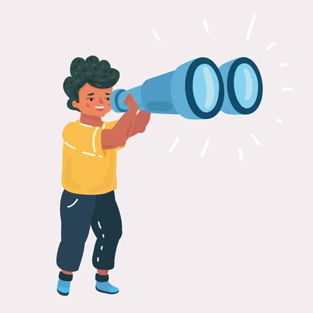 Vector cartoon illustation of Boy look througth binoculars. Children explore the World on white background.