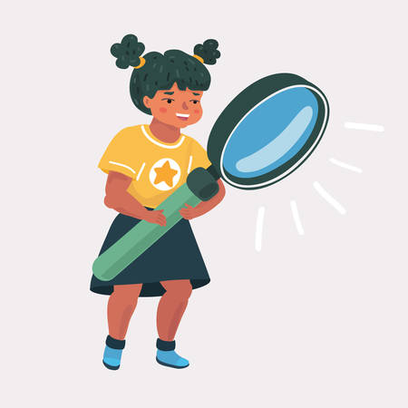 Vector cartoon illsatration of a little girl with magnifier on a white background. Exploring and education concept.
