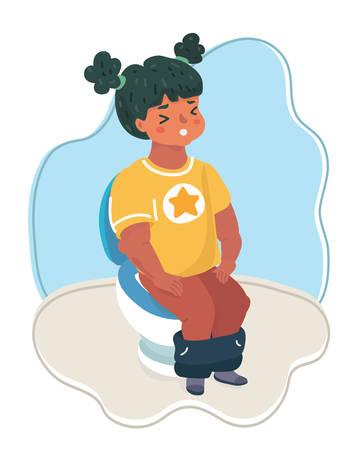 Vector cartoon illustration of woman of Little girl sitting on the toilet.