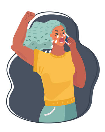 Vector cartoon illustration of Woman with phone looking, crying. Illustration