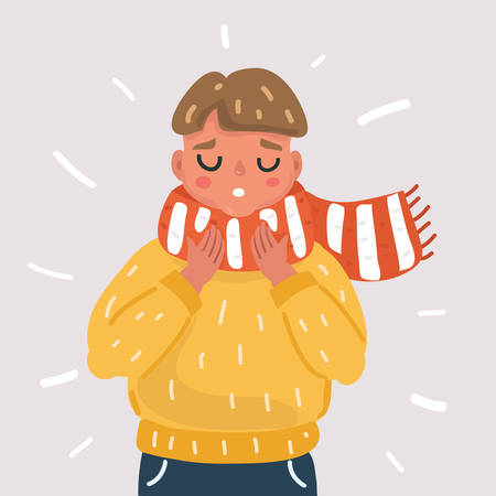 Vector cartoon illsatration of Sick boy with flu in scarf. Kid with throat sore throat on white background. Illustration