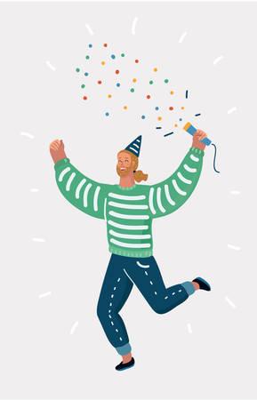 Vector cartoon illustration of man blow up cracker. Man celebrate party.