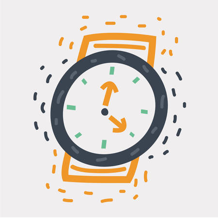 Vector cartoon illustration of icon of a wristwatch. Equipment for the measurement of time.