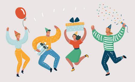 Illustration de dessin animé de vecteur de gens heureux célèbrent un événement important. Les émotions joyeuses définissent le saut de caractère et célèbrent sur fond blanc.