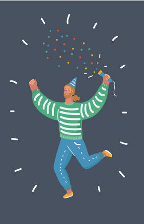 Vector cartoon illustration of Young man blow up cracker with sparkles, man celebrating holiday party on dark bakcground.