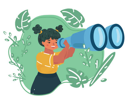 Vector cartoon illsatration of little Girl. School students looking into binoculars in green leaf. Exploring and education concept. Çizim