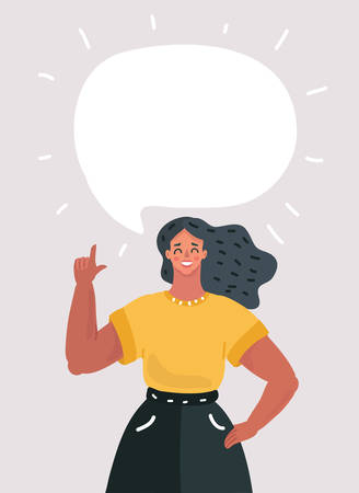 Vector cartoon illsatration of Cartoon woman with speech bubble for your text. Index finger up. Smiling character on white background.