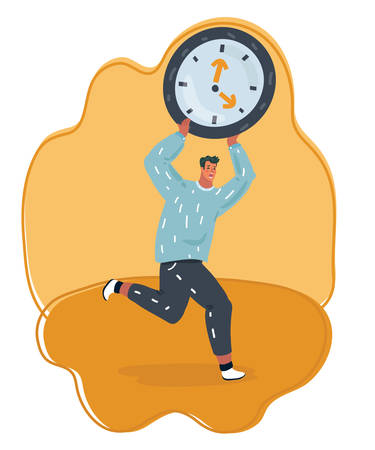 Vector cartoon illustration of man holding big digital clock and running. Male character and time management symbol. Deadline and delay concept.