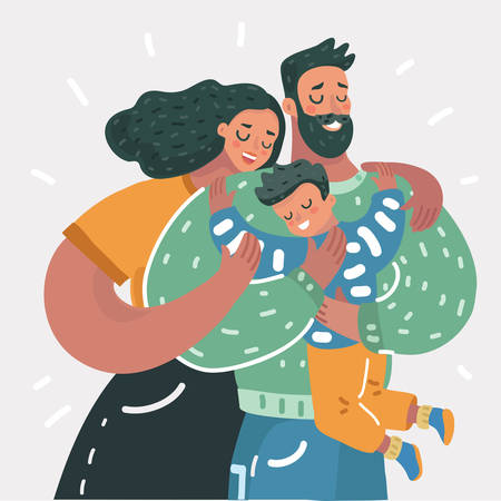 Vector ccartoon illustration of a young happy family give a hug to little son. Close up view.