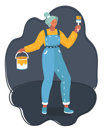 Vector illustration of woman paints with a brush on dark background.
