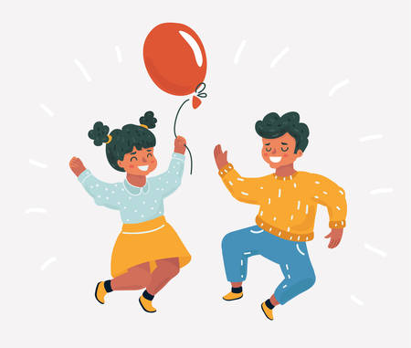 Vector cartoon illustration of best friends. Little kids celebrate. Girl and Boy jumping for joy. Childish character on white background. Illustration