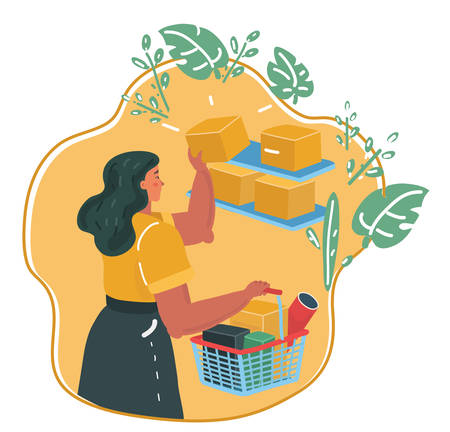 Vector cartoon illustration of Women shopping with bascet in her hands in a store, shelves with goods. Eco shop.