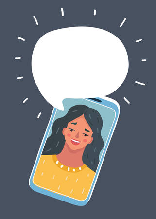 Vector cartoon illustration of phone conversation. Chat with woman by smartphone. Pretty female face on screen. Bubble speech above. Object on dark background. Illustration