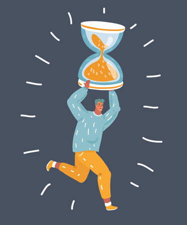 Vector cartoon illustation of man hurry up and running for rush hour. Tiny character with big hourglass on his shoulder. Dark nightn bakcground. Deadline and lack or time concept.
