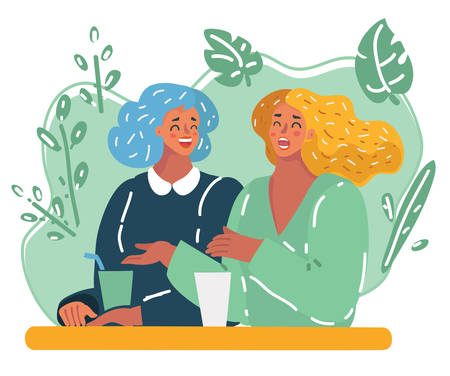 Vector cartoon illustration of Two style girlfriends having drink together and relaxing in cafe. Happy laughing woman together. Friendsip and conversation concept.