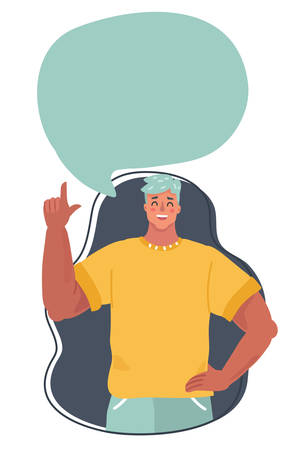Vector illustration of man with speech bubble above him.