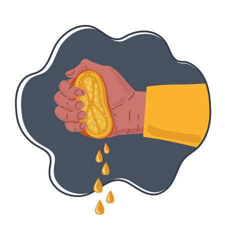 Vector illustration of human Hand squeezes fresh ripe orange isolated on dark background.