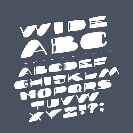 Vector cartoon type font on dark bakcground. Wide latin slanted letters. English capital ABC.