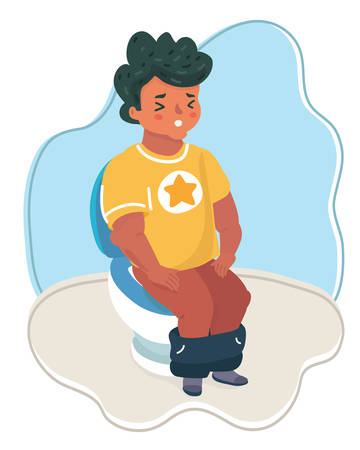 Vector of drawn the boy sitting on the toilet. Shit expression awkward.