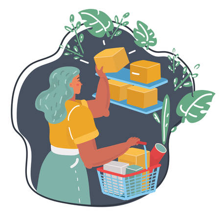 Vector cartoon illustration of Woman with basket in her hands in a supermarket. Night shopping. Banque d'images - 125091772