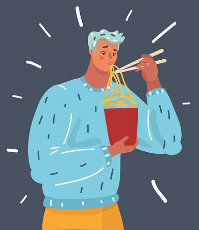 Vector cartoon illustration of man eat noodle. Human character on dark background.