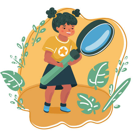 Vector cartoon illsatration of smiling little girl looking through a magnifying glass. Education and searching concept. Vettoriali
