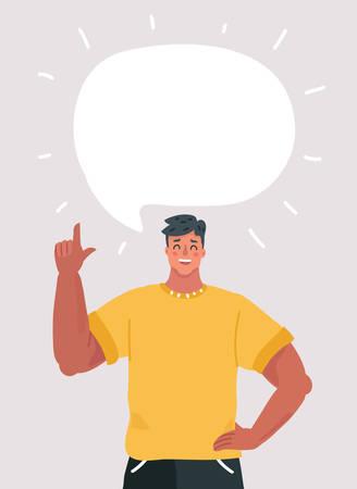 Hombre de dibujos animados vector con algo que decir. Burbuja de diálogo sobre él.